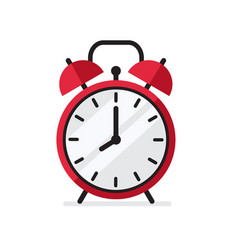 Red alarm clock in flat style vector