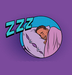 retro man sleeping in bed vector image