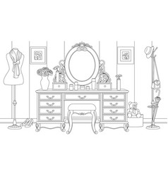 room with a lady table with vector image