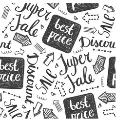 Sale seamless doodle pattern best price vector