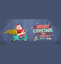 Santa driving scooter with pine tree merry vector