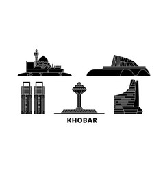 Saudi arabia khobar flat travel skyline set vector