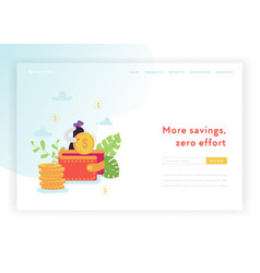 saving money landing page template business woman vector image