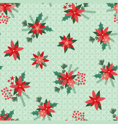 seamless pattern simple christmas flowers vector image
