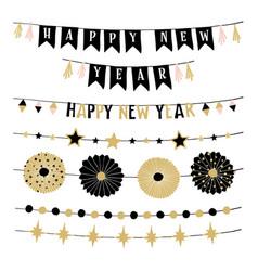 Set birthday or new year decorative borders vector