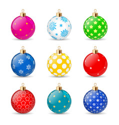 set color christmas balls on a transparent vector image