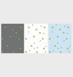 set of cute hand drawn stars patterns vector image