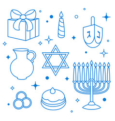 Set of happy hanukkah celebration objects and vector