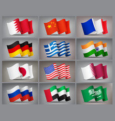 set waving flags icons isolated official vector image