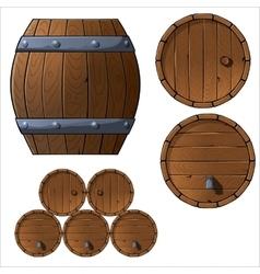 set wooden barrels and boxes vector image
