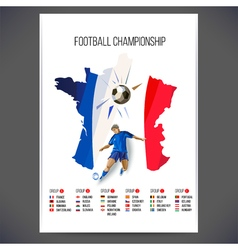 Signs Football championship with player and ball vector image