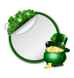 st patricks day banner with clover leaves vector image