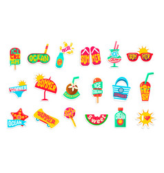 Summer beach holidays stickers with text set vector