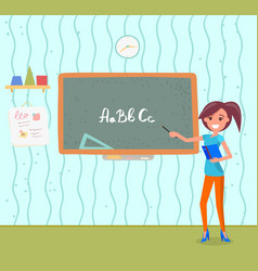 teacher with pointer near chalkboard with alphabet vector image