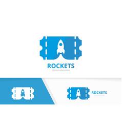 Ticket and rocket logo combination ducket vector