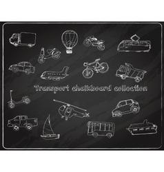 Transport doodle set chalkboard vector image