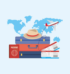 travel baggages with passport and tickets with vector image