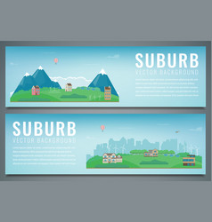 Two city banners with suburban landscape building vector