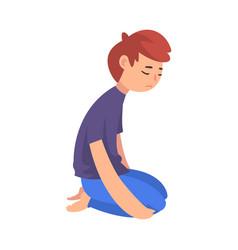 Unhappy sad boy kneeling on floor depressed vector