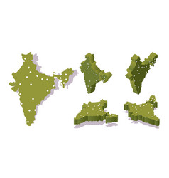 Various isometric views 3d india map with main vector