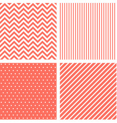 vecor seamless patterns in living coral color vector image