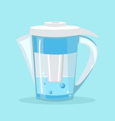 Water filter jug pitcher flat vector