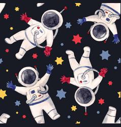 Watercolor astronaut pattern vector