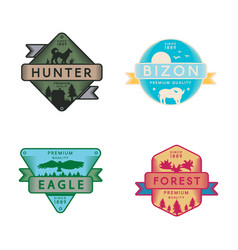 wild eagle and bizon hunter and forest set logo vector image