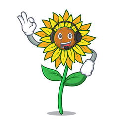 with headphone sunflower mascot cartoon style vector image