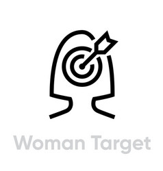 Woman target personal targeting icon editable vector