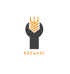 Wrench with wheat spike design template vector
