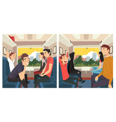 young people travelling train set men and vector image