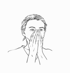 young woman covered her mouth and nose with her vector image