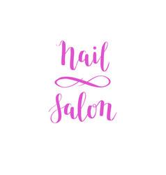hand-drawn nail salon lettering design vector image