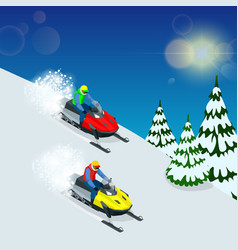 man driving sports snowmobile man and fast action vector image vector image