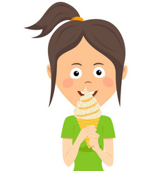 teenager girl eating ice cream vector image