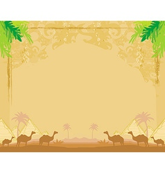 camel caravan in wild africa - abstract grunge vector image vector image