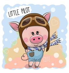 Cute pig in a pilot hat vector