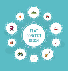 Flat icons hill suv music and other vector