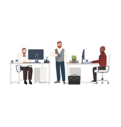 men dressed in business clothes working at office vector image