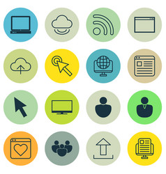 set of 16 world wide web icons includes program vector image vector image