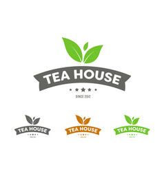 set of logos with ribbons and leaves for a tea vector image