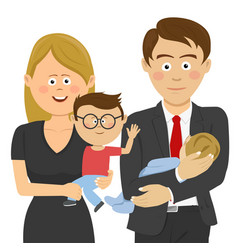 businessman and woman holding their children vector image vector image