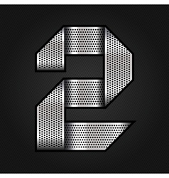 Number metal chrome ribbon - 2 - two vector image vector image