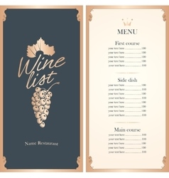 wine list with a bunch of grapes vector image vector image