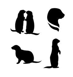 Prairie dog silhouettes vector image