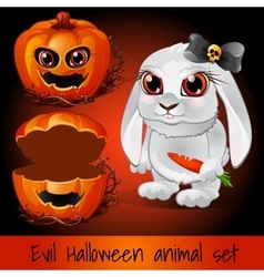 Pumpkin and rabbit on a dark red background vector image vector image