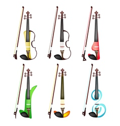 A Set of Colorful Violins on White Background vector