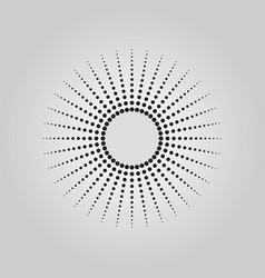 abstract black dots sun halftone technique effect vector image