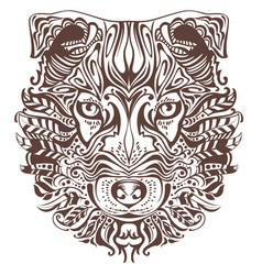 abstract graphic drawing of dog head vector image